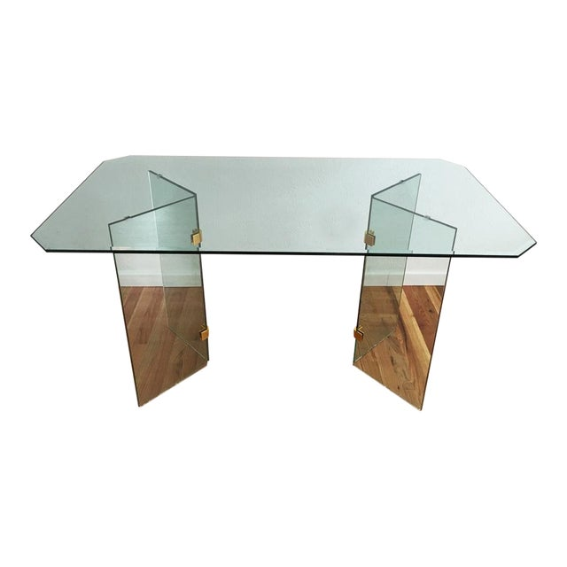 Beveled Glass Dining Table - Image 1 of 8