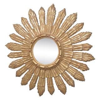Gilt Carved Convex Sunburst Mirror