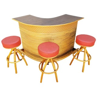 Rattan Tiki Bar with Three Stools