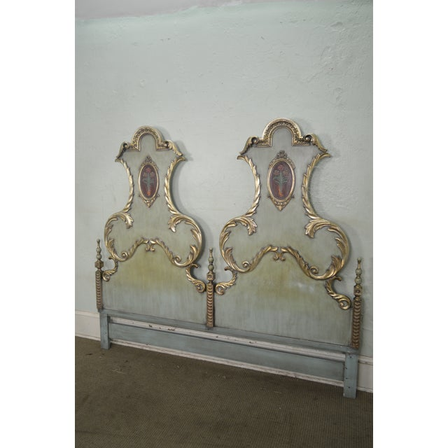 Karges Vintage High Back Paint Decorated Venetian Style King Size Headboard - Image 5 of 10
