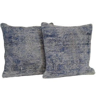 Blue Handmade Over-Dyed Rug Pillows - Pair