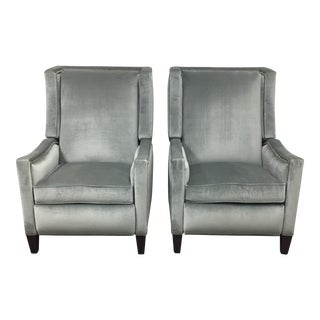 Hancock & Moore Velvet Silver Recliners - A Pair