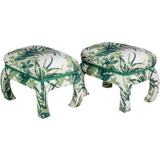 Upholstered Palm Stools - A Pair