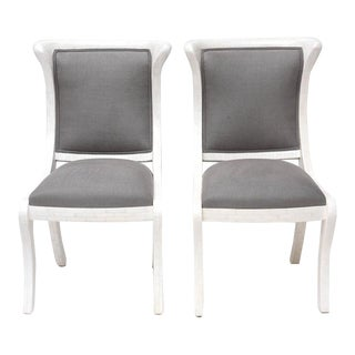 Tesselated Bone and Linen Side Chairs