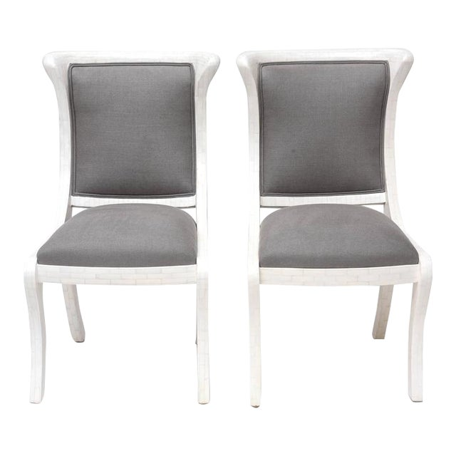 Tesselated Bone and Linen Side Chairs - Image 1 of 10