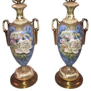 Blue Porcelain Lamps - A Pair