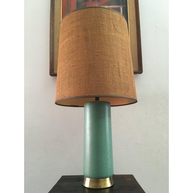 Mid-Century Turquoise Ceramic Table Lamp - Image 3 of 8