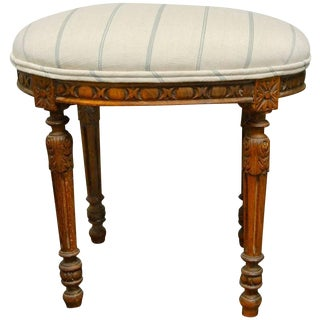 Louis XVI Style French Linen & Wooden Oval Footstool