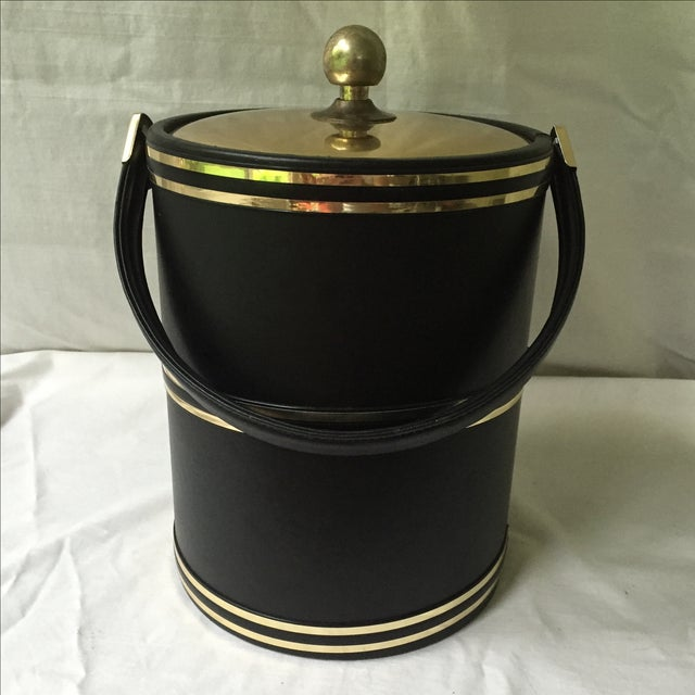 Faux Leather & Gold Ice Bucket - Image 3 of 5