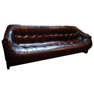 Percival Lafer Rosewood & Brown Leather Sofa