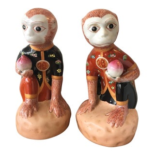 Chinese Style Ceramic Monkeys - A Pair