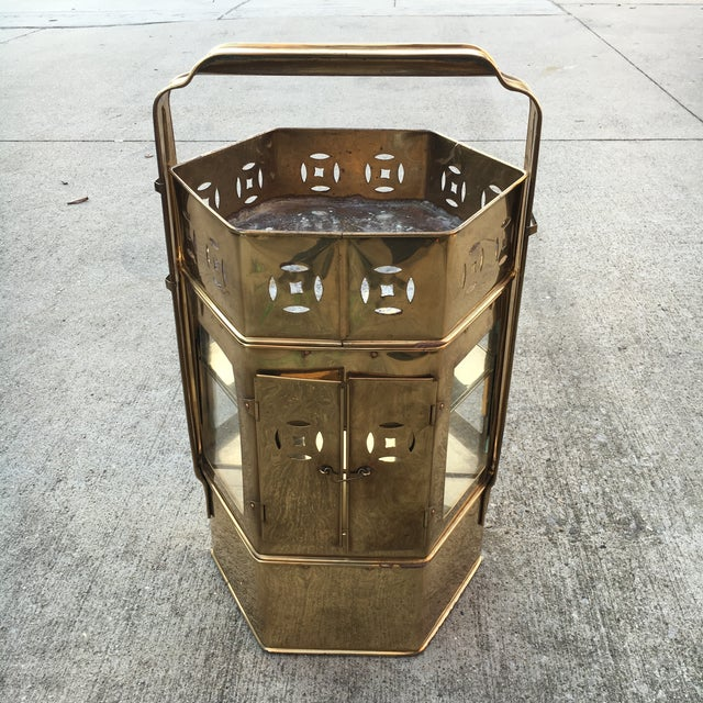 Brass Enclosed Table & Storage Stand - Image 2 of 6