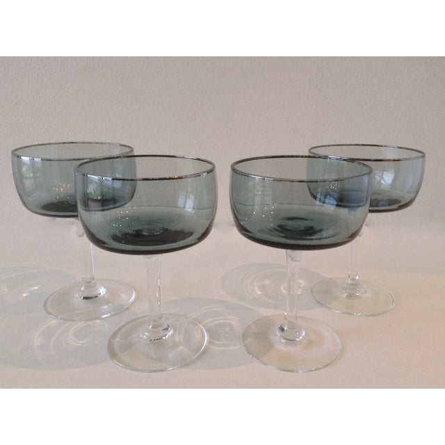 Silver Rimmed Smoke Blue Champagne Coupes - S/4 - Image 4 of 7