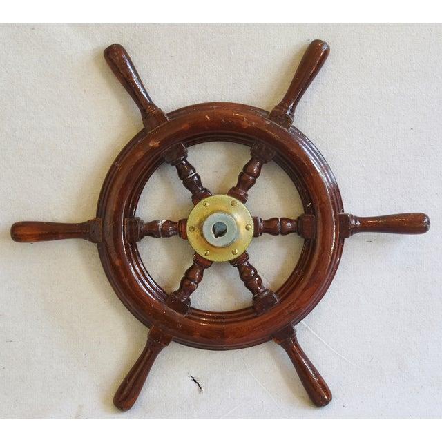 1950s Nautical Wood & Brass Ship's Wheel - Image 3 of 9