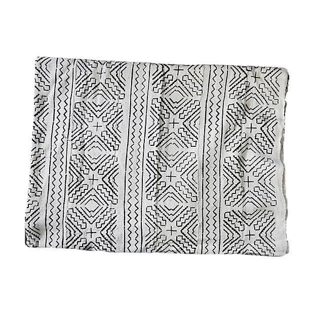 Lg Black & White Mali Mud Cloth Textile - Image 1 of 7