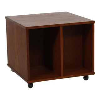 Rolling Vinyl / Book Caddy / Multifunctional Storage Cube in Teak