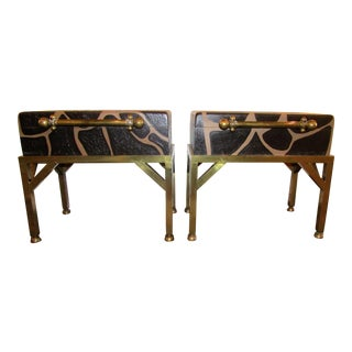 Giraffe Patterned Box Side Tables - A Pair