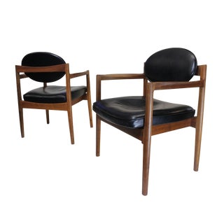 Vintage Jens Risom Black Leather Oval-Back Lounge Chairs- A Pair