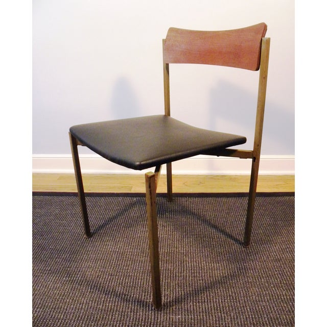 Image of Mid-Century Floating Seat Metal Chairs - A Pair