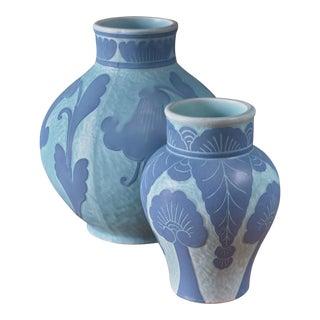 Josef Ekberg Pair of Ceramic 'Sgraffito' Vases for Gustavsberg, Sweden, 1920s