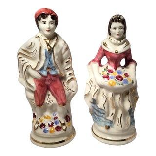 Standing Man & Woman Ceramic Figures - A Pair