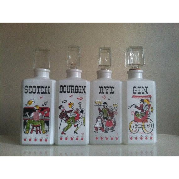 Vintage Milk Glass Liquor Bottles - 4 - Image 2 of 6