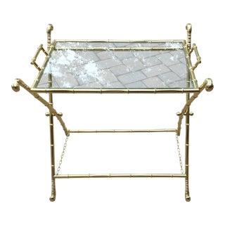 Faux Bamboo Brass Folding X-Leg Tray Table