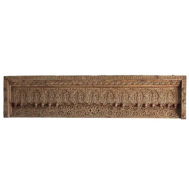 Antique Floral & Leaf Wood Carved Panel - Image 1 of 7