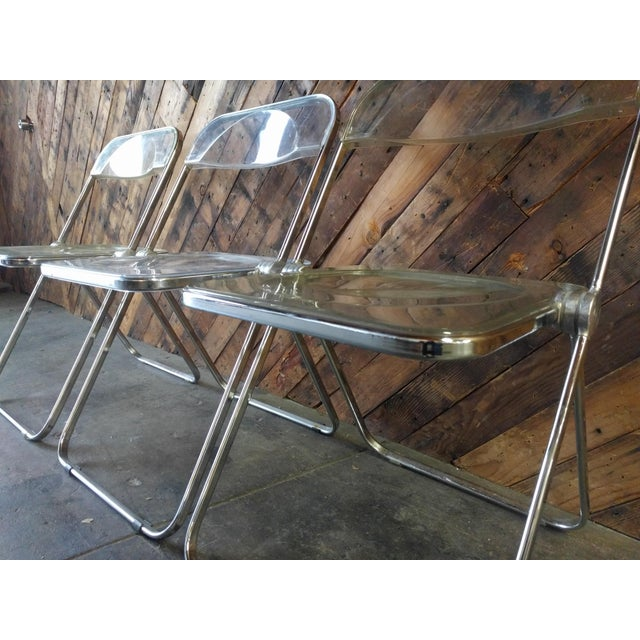Piretti for Castelli 1970s Lucite and Chrome Folding Chairs - Set of 3 - Image 4 of 6