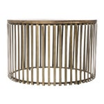 Image of Metal Cage Oak Topped Cocktail Table