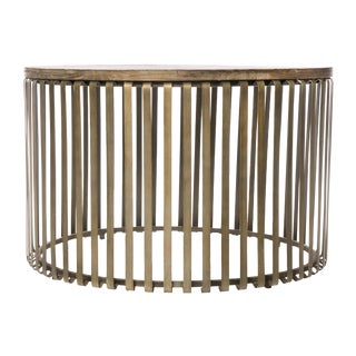 Metal Cage Oak Topped Cocktail Table