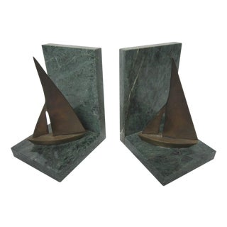 Mid Century Brass Sailboat Bookends - Pair