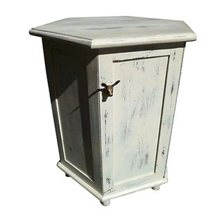 Vintage White Side Table With Storage