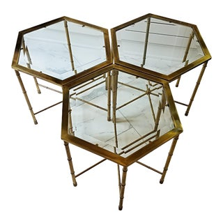 Mastercraft Mid Century Brass Glass Coffee Tables - Set of 3