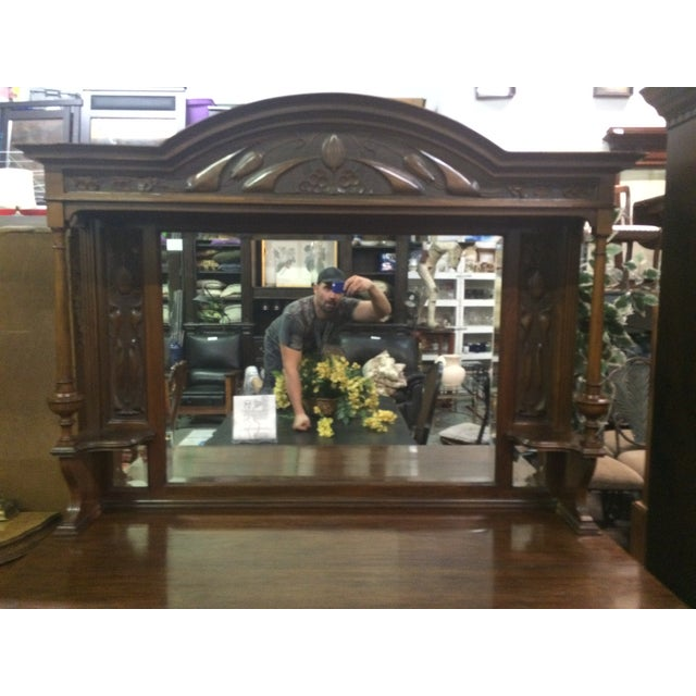 Antique Hand-Carved Buffet & Mirror - Image 4 of 10