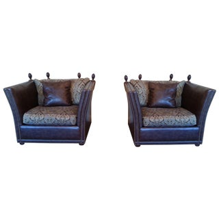 Safavieh Leather Nailhead Accent Chairs - Pair