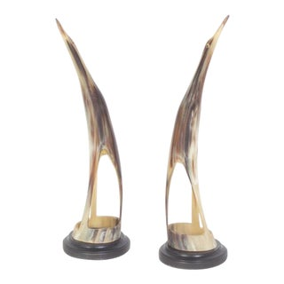 Pair of Mid-Century Birds Carved from Steer Horn