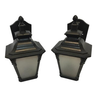 Black English Wall Sconces - A Pair
