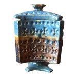 Image of Vintage Vibrant Blue Ceramic Lidded Vase Container