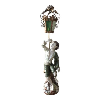 "Azzolin Brothers ""Boy With Grapes"" Porcelain Floor Lamp"
