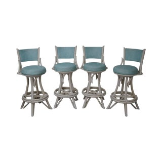 Mid-Century Modern White Painted Bamboo Swivel Bar Stools - Set of 4