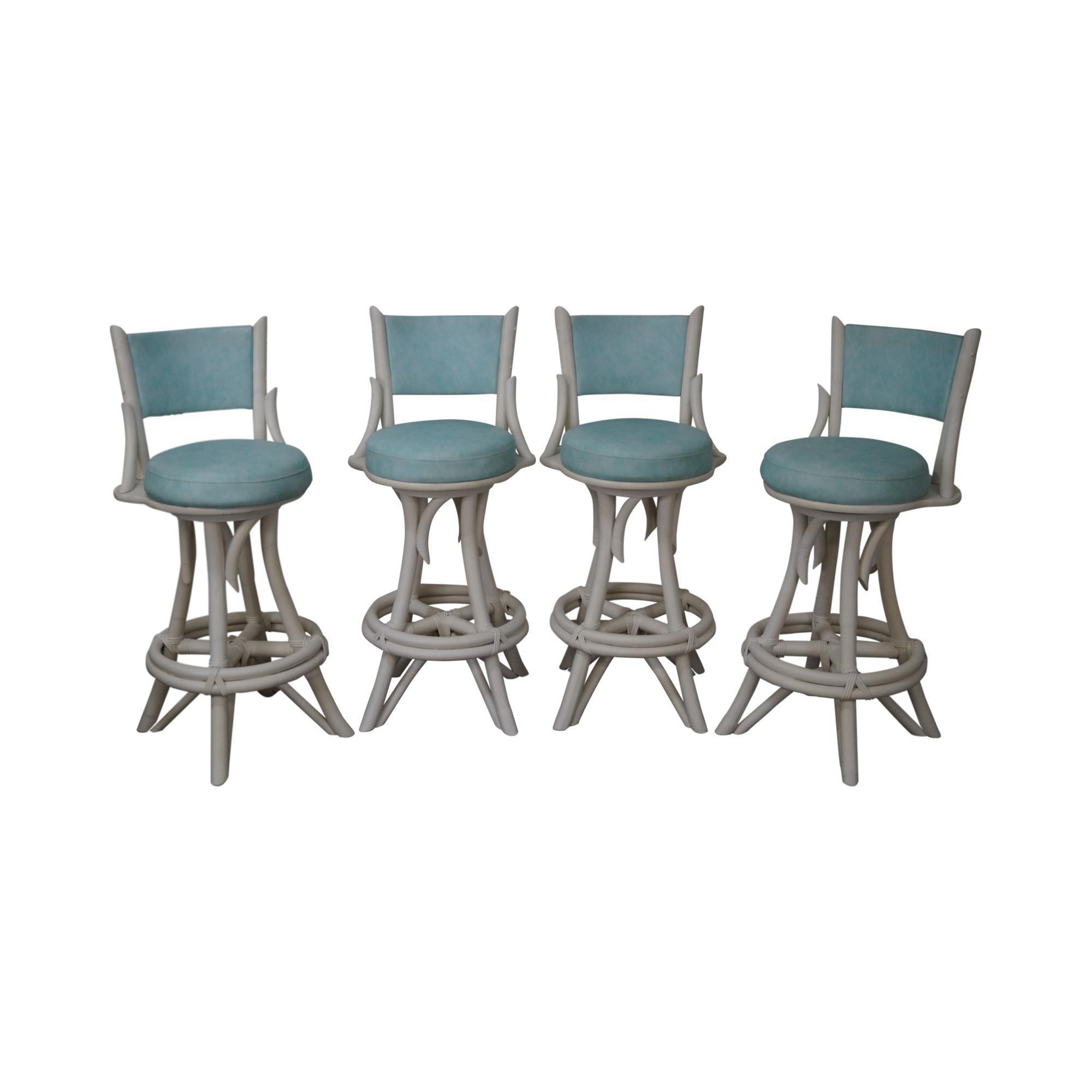 midcentury modern white painted bamboo swivel bar stools set of 4