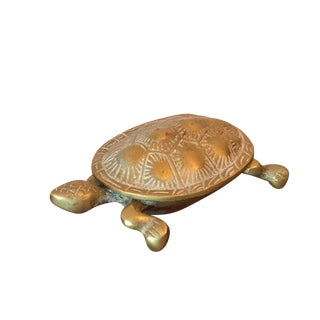 Vintage Brass Turtle Box with Hinged Lid