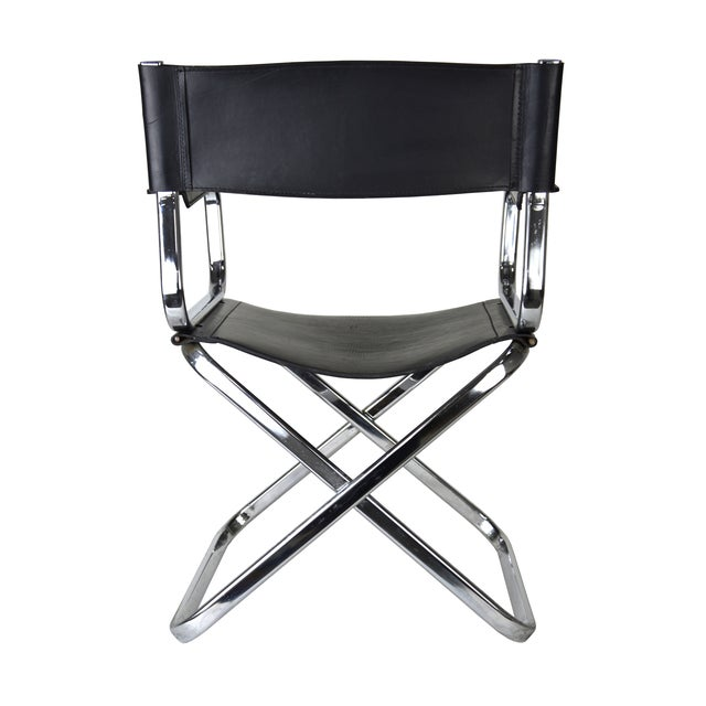 Image of Italian Leather And Chrome Director's Chair
