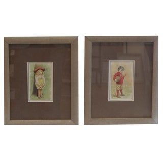 Framed Victorian Collector Cards - A Pair