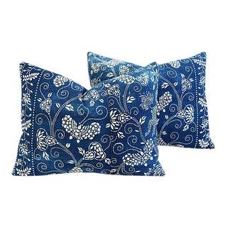 Vintage Shanghai Batik Chinoiserie Feather/Down Pillows - Pair