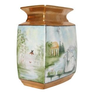 Art Deco Hand-Painted Porcelain Swan Vase, Hallmarked & Artist Signed