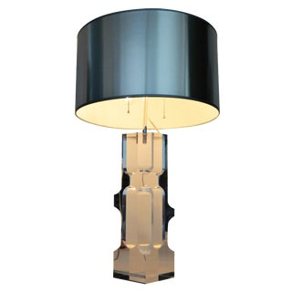 Lucite and Chrome Mid-Century Modern Table Lamp by Alessio Tasca MCM