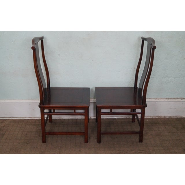 Image of Baker Asian Mahogany Dining Chairs - Set of 8