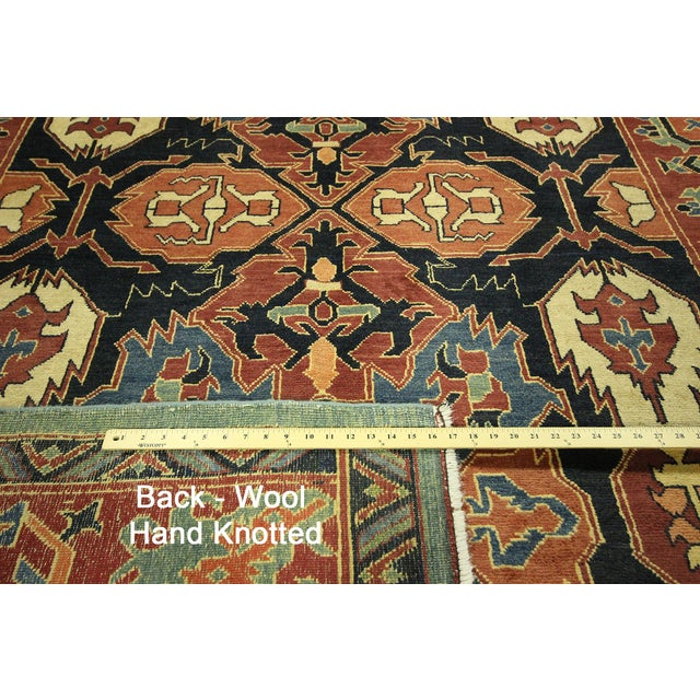 "Navy Chobi Hand Knotted Wool Rug - 6'6"" x 9'10"" - Image 3 of 9"